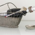 Weinflaschenhalter, versilbert, France Wine Basket, Bottle Holder