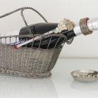 Weinflaschenhalter, versilbert, France Wine Basket, Bottle Holder