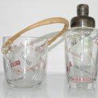 Cocktail Shaker Set, Bottoms Up, Bleikristall, ca. 1950